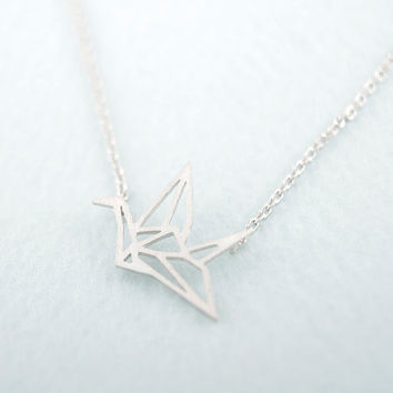 Silver Gold Plated Origami Crane Necklaces for Women Cute Bird Chain Necklaces 2016 Simple Couple Necklaces XL006