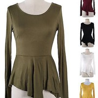Sexy Round Neck Asymmetrical Hi-Low Hem Peplum Long Sleeve Fitted Top Shirt