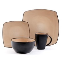 Gibson Bella Soho 16-Piece Square Reactive Glaze Dinnerware Set, Taupe