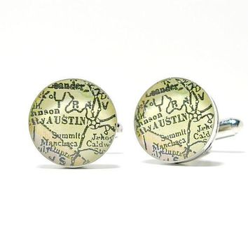 Austin Texas Antique Map Cufflinks