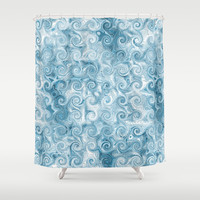 Beachy Blue Swirl Shower Curtain by KCavender Designs
