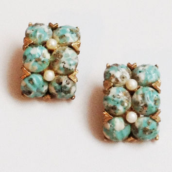 Signed Kramer Earrings 60s Clip On Turquoise Rhinestone Goldtone Vintage Accessories Jewelry - Free Shipping