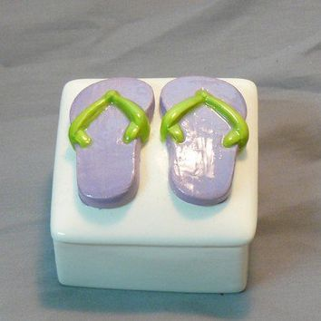Ceramic Flip Flop Keepsake Box Purple Lime by GrapeVineCeramicsGft