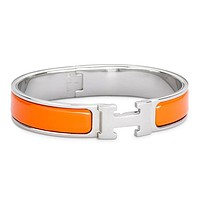 Hermes Bracelet Women's Men Enamelled Palladium H Wide Bracelet Orange Silver