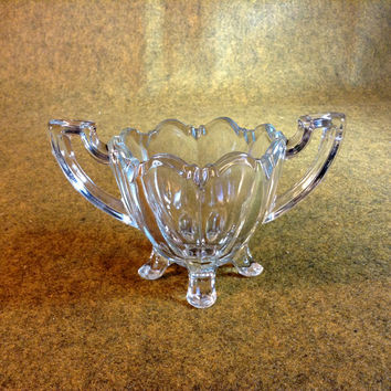 Vinted Four Footed Spooner - Double Handled - Clear Glass - Excellent Condition - Vintage Pressed Glass
