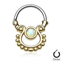 Opal Septum Clicker Ring Gold Plated 316L Stainless Steel 16g