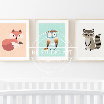 Baby Boy Nursery Decor | Childrens Wall Art | Woodland Animals | Fox Owl & Raccoon Set
