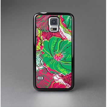 The Bright Pink and Green Flowers Skin-Sert Case for the Samsung Galaxy S5