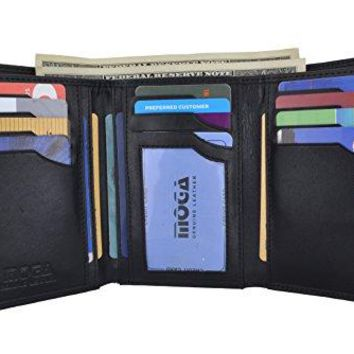 Moga Genuine Leather Women's Trifold Credit Card ID Holder With Coin Zippered Pocket Wallet