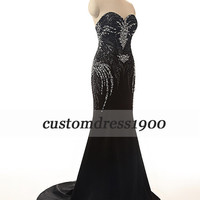 Formal women evening dress,handmade black sequins chiffon prom dress,long evening dress,black party dress,women wedding party dress