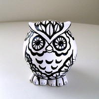 Ceramic Owl Hand Painted Black White Flowers Feathers Modern Woodland Figurine