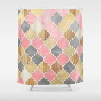 Silver Grey, Soft Pink, Wood U0026 Gold Moroccan Pattern Shower Curtain By  Micklyn