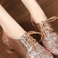 Ladies Fashion Glitter Kitten Heel Lace Up Shoes In BEIGE from NaomiShu