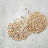 Gold Lace Droplet Earrings