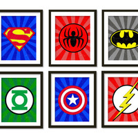 Super hero art, kids wall art, boys room decor, Spider-Man, superman, batman, flash, captain America, green lantern, superheroes logos .
