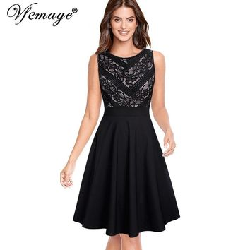 Floral Lace Pocket Patchwork Casual Work Office Business Party  A-Line Midi Dress
