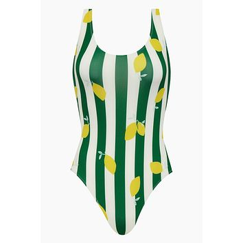 The Anne-Marie Classic One Piece Swimsuit - Lemons & Green Stripe Print