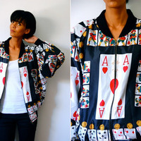 Vtg Ace of Hearts Cards Print Moschino Couture Zip Up Bomber Jacket