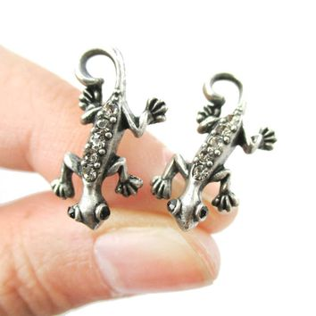 Detailed Gecko Lizard Shaped Stud Earrings in Silver with Rhinestones | Animal Jewelry