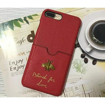 GUCCI iphone6s plus card leather hard shell mobile phone shell F-OF-SJK Red