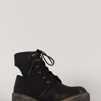 Qupid Valiant-03 Slingback Cut Out Lace Up Bootie