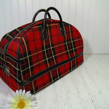 Retro Red Plaid Two Handled Large Zippered Overnight Canvas Tote - Vintage Black Yellow & Red Tartan Wool Fabric Mid Century School Gym Bag