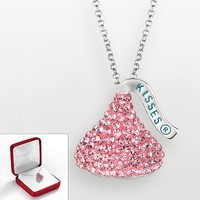 Hersheys Kiss Sterling Silver Pink Crystal Pendant - Made with Swarovski Elements