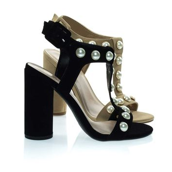 Laveda Black By Delicious, Pearl Encrusted Sandal On Chunky Block Heel, Women's Party Shoes