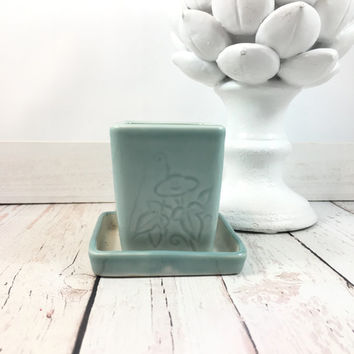 Blue Succulent Planter,butterflies,ivy,Japanese pottery,Glazed Planter,aqua blue,planter vase,ceramics and pottery,flower pot,flower pots