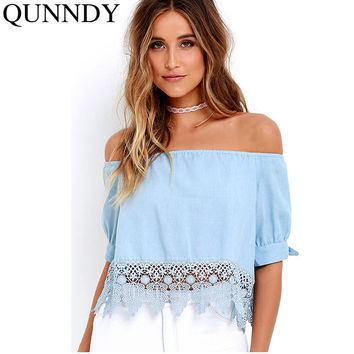 Elegant Blue Off Shoulder Female Blouse Shirt Sexy Summer 2016 Blouse Women Tops Half Sleeve Crochet Lace Blusas Camisa Feminina