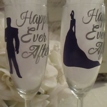 Cinderella Wedding Toast Glasses ~ Unique Champagne Flute Set for That Special Day ~ Keepsake Memento Disney Inspired ~ Bridal Shower Gift