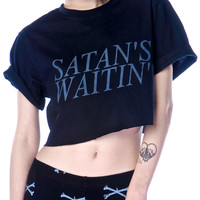 Shop W.A.S. Satans Waitin Crop Tee Black