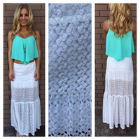 White Crochet Laguna Maxi Skirt