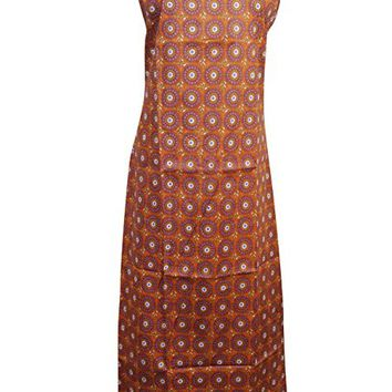 Mogul Womens Cotton Dress Sexy Brown Floral Print Strapped Casual Dress S/M
