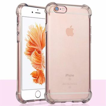 Shock Proof Case for iPhone 8 7 6 6s Plus X Transparent Cover Soft Silicone Corner Protect TPU Case for iPhone7 7Plus se Capinha