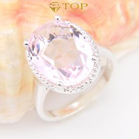High Quality Jewelry Beautiful Oval Fire Pink Crystal Rings For Women Wedding Ring Free And Fast Shipping