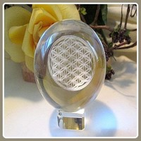 Flower of Life Clear Quartz Crystal Ball & Stand