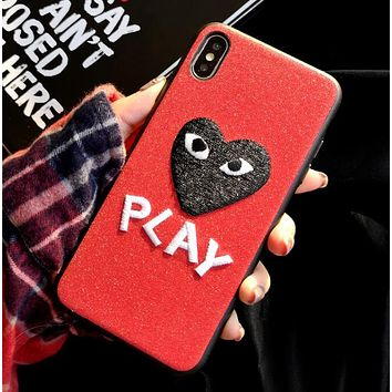"""Comme des garçon play"" Hot Sale Fashionable Women Men Chic Heart Letter Embroidery Mobile Phone Cover Case For iphone 6 6s 6plus 6s-plus 7 7plus 8 8plus X XsMax XR Red"