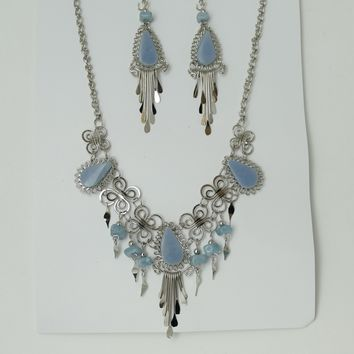 Jewelry Set, Stone Necklace & Earrings Set, Metal And Stone Jewelry Set