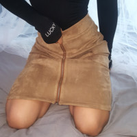 Fashion Khaki Faux Suede Zipper Front Pencil Mini Skirt