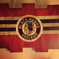 Chicago Blackhawks Small Wooden Stained Flag; Handpainted; Chicago Flag; Hockey Decor; Mancave; Wood Sign; Wood Wall Art; NHL; Retro Vintage