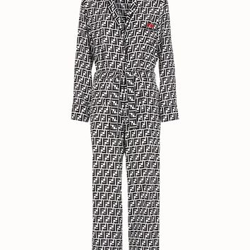 B/W FF Print Jumpsuit by Fendi