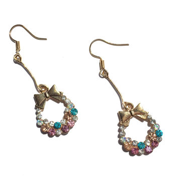 Multicolor Crystal Bow Earrings