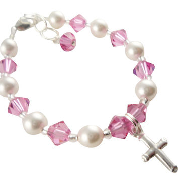 Pink Crystal Cross Charm Bracelet for Girls, First Communion or Baptism Bracelet