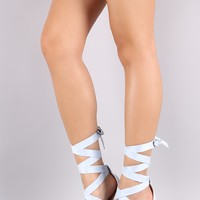Suede Strappy Leg Wrap Chunky Heel