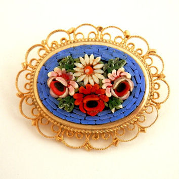 Italian Mosaic Flower Brooch Red & Pink Roses and Daisies