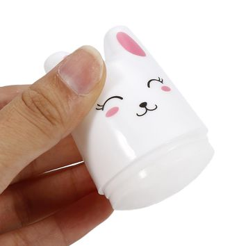 ELECOOL 1pc DIY Nail Art Stamping Stamper Cute Rabbit Soft Silicone Seal Manicure Tool Nail Decoration Accessories With Scraper