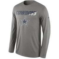Dallas Cowboys Practice Long Sleeves Performance T-Shirt - Gray