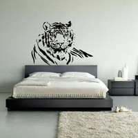 Wall decal vinyl art decor tiger animal predator beast cat canine striped bedroom design mural nursery (m1028)
