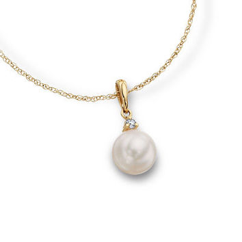 Blue Lagoon® by Mikimoto 7.5mm Cultured Akoya Pearl Pendant in 14K Gold with Diamond Accents - View All Necklaces - Zales